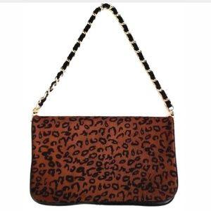Ann Taylor Loft Clutch Purse Leather Fur Leopard